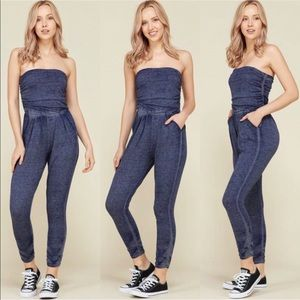 Other - NWT $100 Denim Jogger Jumpsuit Pants Coverup